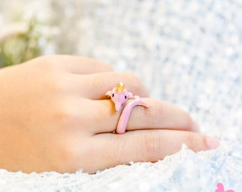 "Lovely Cute Hand Painting Enamel Pink Dolphin Ring (""Dear Friend BOTO Project"")"