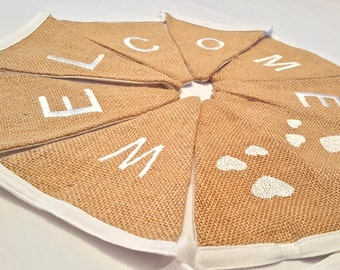 Welcome Sign Bunting, Rustic Wedding, Burlap Banner, Reception Banner, Welcome Banner, Hessian Welcome, Hessian Wedding, Entrance Decor