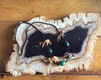 Wooden Safari Animal and Malachite Beaded Necklace