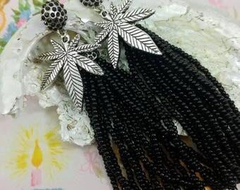 Black Beaded Tassel Cannabis Leaf Earrings.