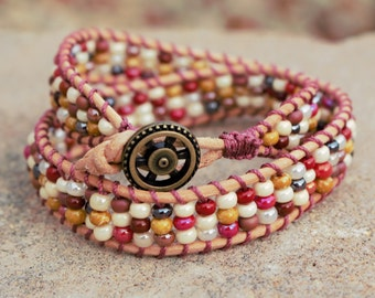Beaded wrap bracelet // leather wrap bracelet // double wrap bracelet // natural leather wrap bracelet