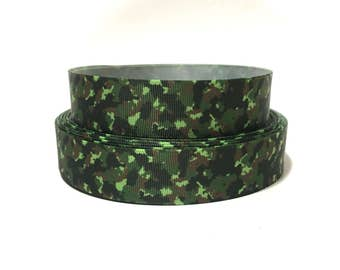 Camo Ribbon by the Yard, Camouflage Ribbon, Camo grosgrain Ribbon, camouflage Grosgrain ribbon
