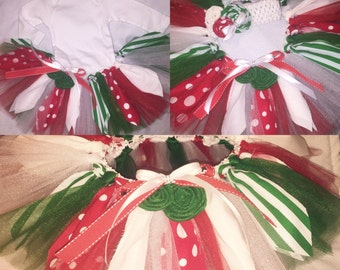 Little girl Christmas tutu! Red, green and white fabric and tulle tutu. Can be customized!