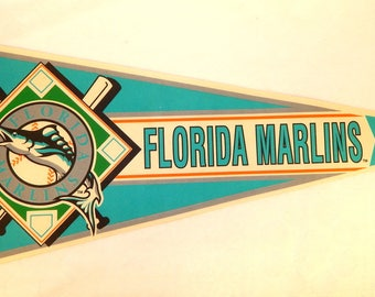 "Pennant Florida Marlins Felt 29"" by 12"" - 1990's"