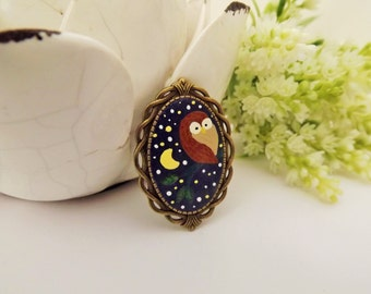 Midnight Star Night Owl Brooch. Lovely Vintage Hand Painted Cameo Brooch Polymer Clay Jewelry Nickel Free Antique Bronze