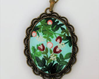 Great Day with The Flowers Necklace. Lovely Vintage Handmade Hand Painted Cameo Necklace Polymer Clay Pendant Jewelry Nickel Free Metal