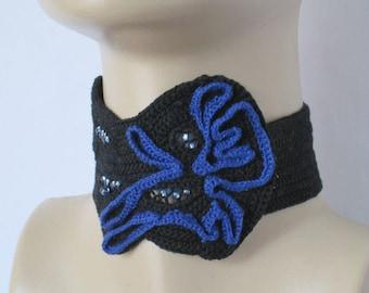 Crochet choker,Crochet collar,Statement necklace choker,Punk rock collar, Punk choker, Black collar