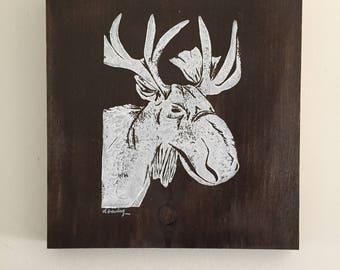 9x10 Moose print (walnut stain/white print)