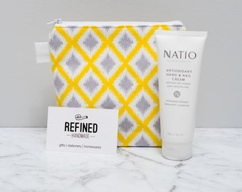 Yellow Diamond Makeup Bag / Make up bag / cosmetic / toiletry bag / zippered pouch / purse