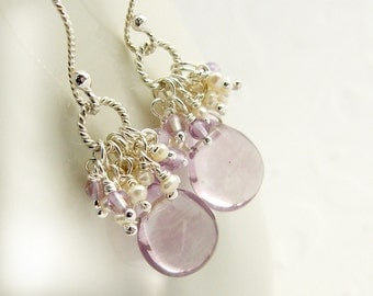 Delicate purple earrings 925 Silver White pearls, seed beads, pink Amethyst, Sterling Silver earrings,