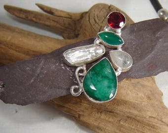 Necklace - ring - 925 Silver with genuine gemstones on Slate