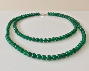 Green Agate Necklace -Agate Necklace -Green Necklace -Two Strand Necklace -Beaded Necklace -Gift for Her -Silver Necklace -Handmade -UK Shop