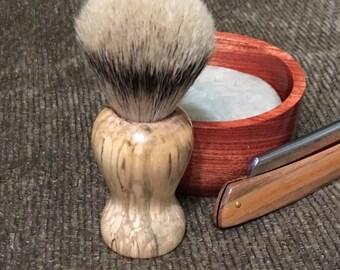 Silver tip badger brush, hand turned, handmade, Spalted Maple, gift for him, Father's Day gift, shaving brush, wet shaving
