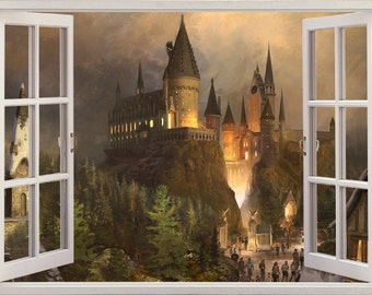 3D Wall Sticker Window *Hogwarts Castle* /Harry Potter Decal /Harry Potter Sticker /Self-Adhesive Vinyl Poster Mural/Self-Adhesive Wallpaper