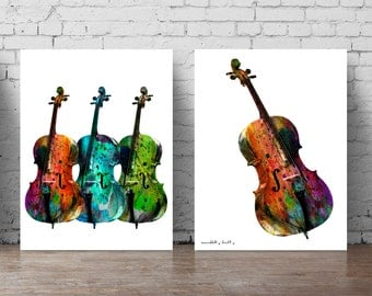 cello wall decal musical instruments poster set violoncello wall decal music print set A5-A0 large wall art music poster watercolors 170
