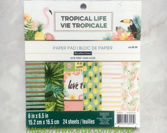 Recollections Paper pad.Tropical Life. Flamingo. 24 sheets