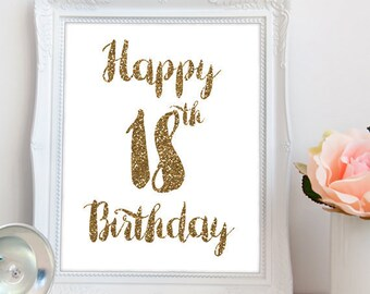 Happy 18th Birthday PRINTABLE, printable happy 18th birthday, happy 18, 18th birthday party printable, 18 party printable, INSTANT DOWNLOAD