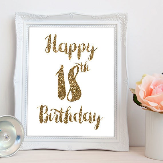 Happy 18th Birthday PRINTABLE Printable Happy 18th Birthday