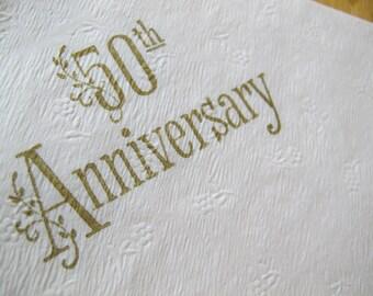 Vintage 50th Anniversary Paper Serviettes (set of 20) / Gold on white textured paper napkins