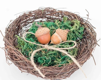 Bird Nest Ring bearer pillow alternative Moss Rustic Wedding Ring Pillow Ring Bearer Ring Pillow Wooden Ring Bearer Wood Ring Pillow