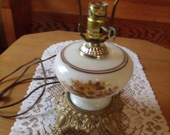 Vintage Milk Glass bottom Lamp, with flower Design, No Shade, (# 970/60)