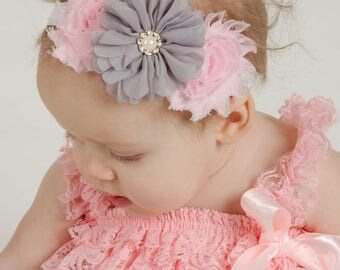 Pink & Gray Baby Headband, Baby Headband, Pink Headband, Newborn Headband, Infant Headband, Gray Headband, Baby Girl Headband, Girl Headband