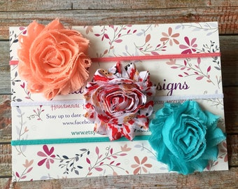 3 Baby Headbands/Baby Headband Set/Baby Headbands/Newborn Headbands/Toddler Headbands/Baby Girl Headbands/Shabby Chic Headbands/Hair Bows