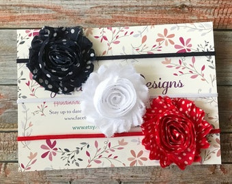 Baby Headband/Set of 3 Shabby Chic Headbands/Newborn Headband/Baby Girl Headband/Infant Headband/Baby Hair Bow Set/4th of July Headbands