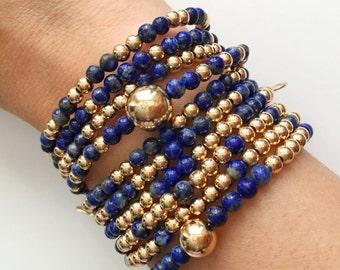 Lapis Lazuli Gold Stackable Bracelets