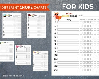 6 Chore Charts, KIDS, Funny Insects, Responsibility Chart, Chores, Reward Chart, Job Chart, Digital, Printable, Kids, Children Chart