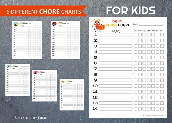 6 chore charts kids funny insects responsibility chart