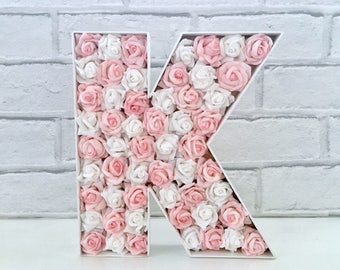 Pink Rose decor, Large wooden letter, Floral letter, Big sister gift, Gift for sister, Rustic decor, Country style decor, Farmhouse decor