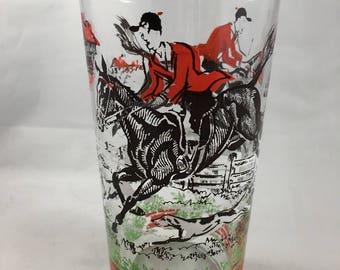 Vintage Mid Century Barware Equestrian Horse Jumper Glass