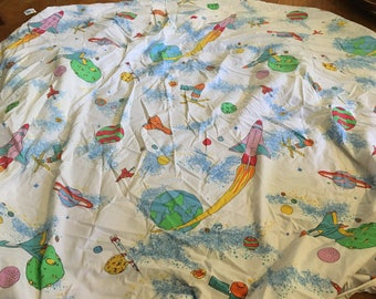 Vintage Pink and Green Colors Space Ships and Planets Fitted Twin Bedsheet