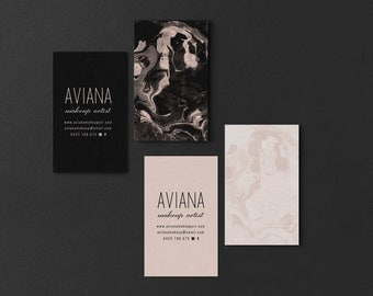 Aviana • Premade Add your own logo Minimalist Handpoured Blush Marble Business Card Design