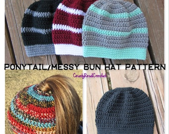 Ponytail Hat Pattern/Messy Bun Hat Pattern/Crochet Pattern/Adult/Teen/Crochet Ponytail Hat Pattern/Hat With Hole/Ponytail Hat/Messy Bun Hat