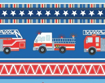 """End of Bolt, Blue Firehouse Village Stripe Cotton Fabric from the Firehouse Friends Collection be Benartex, Dalmatians, Firehouse, 11""""x44"""""""