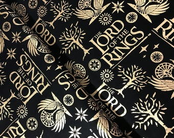 Lord of the Rings Metallic Cotton Fabric from Camelot Fabrics
