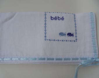 Baby boy burp cloth,100% Cotton,Traditional Diaper,Shower Gift,blue carriages diaper,stroller blanket,Bath and Beauty,Baby Gift,Cross-stitch