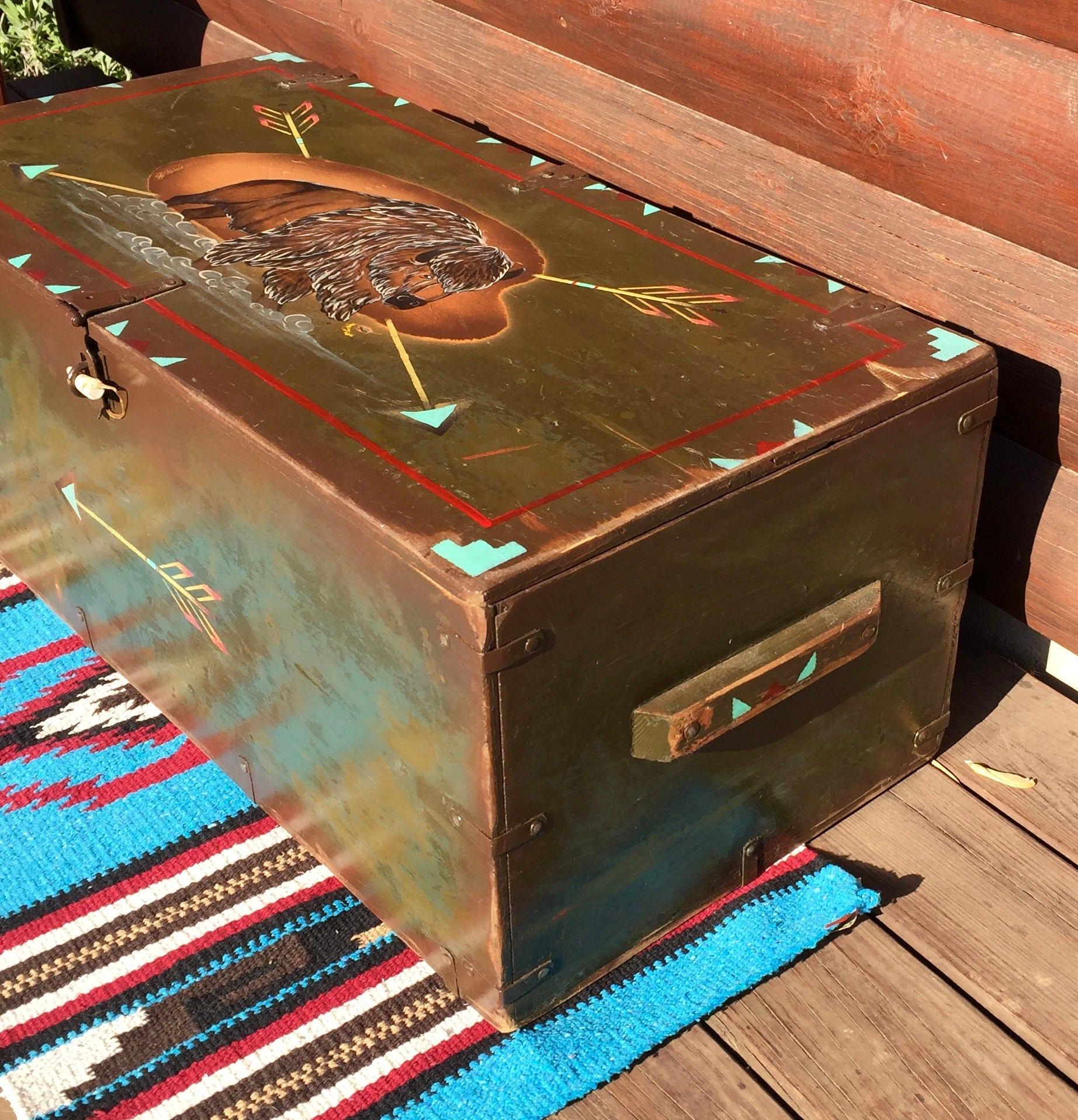 Vintage repurposed Army foot locker rustic coffee table storage