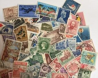 50 Australian Postage Stamps Vintage