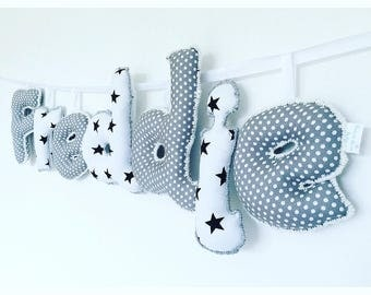 Personalized black & white name sign,name banner,name bunting,nursery decor,bedroom decor,nursery wall hanging,gifts for kids,new baby gift