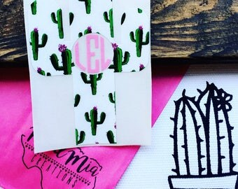 Cactus Monogram Decal {choose your own colors}