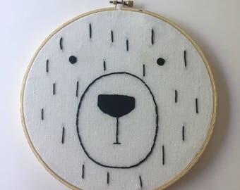 Teddy bear nursery art, nursery embroidery, bear nursery little bear neutral nusery decor, adventure nursery
