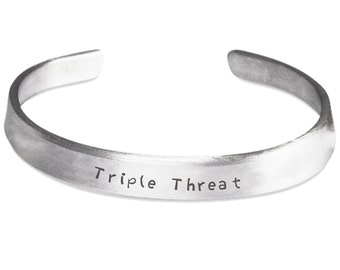 TRIPLE THREAT - Stamped Bracelet for Actors - Singers - Dancers - Musical Theatre Gift - Made in the USA