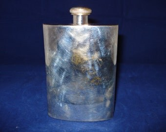 silver plated hip flask, vintage