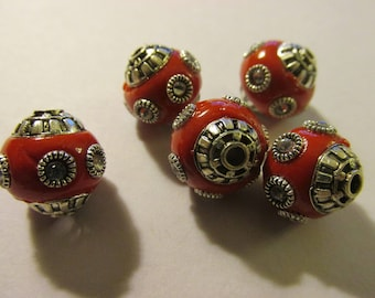 Red Resin Rhinestone Studded Beads, 12mm, Set of 5