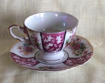 Vintage ftd cup and saucer Ford A 906 Japan mid century oriental style Tea time bone china