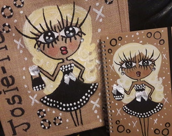 Book, Lunch bag size jute and a matching bottle bag