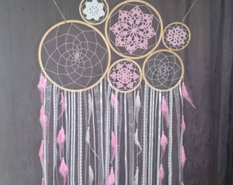 Pink and white large decor dream catcher